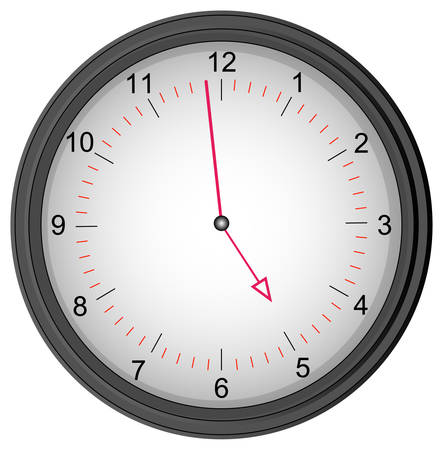 grey clock showing one minute to five - quitting time
