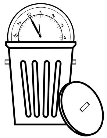 clock tossed in garbage can - concept of time management - vector Ilustração