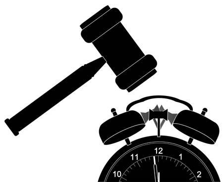 silhouette of gavel smashing down alarm clock - vector  Ilustração