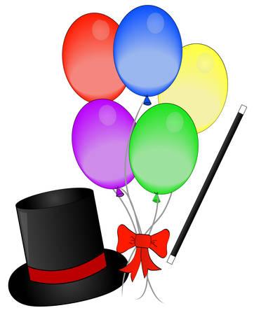 magia sombrero y vara con globos - concepto de magia - vector