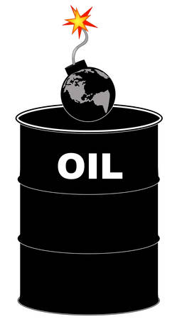 barrel of oil with explosive earth bomb on top