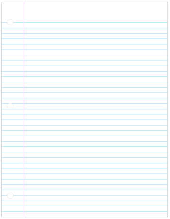 perfect sheet of three holed lined paper - vector