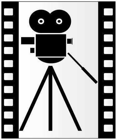 black and white filmstrip with movie camera background - vector