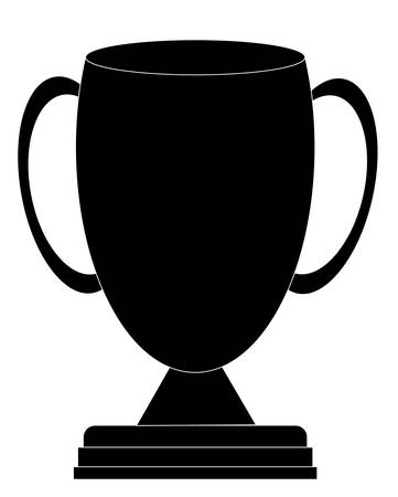 silhouette of black trophy or award cup - vector