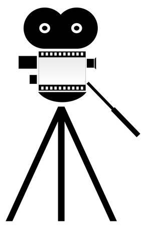 filmcamera met het lichaam van de camera als film strip - vector