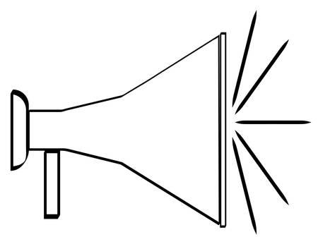 outline of black bullhorn or megaphone - vector