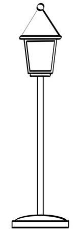 アウトラインの伝統的なスタンド スタイルのランプのポスト - のベクトル  イラスト・ベクター素材