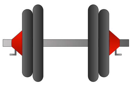 dumbell or weight set with two weights on each side - vector Ilustração
