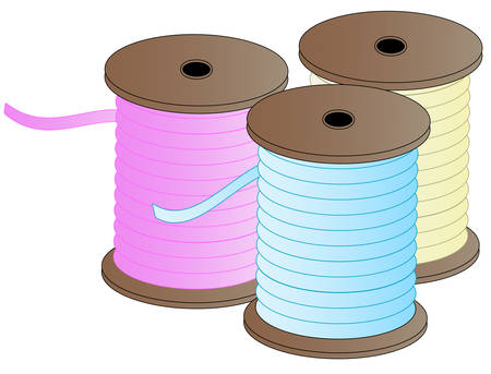 three spool of colorful sewing thread - pink, blue and yellow - vector