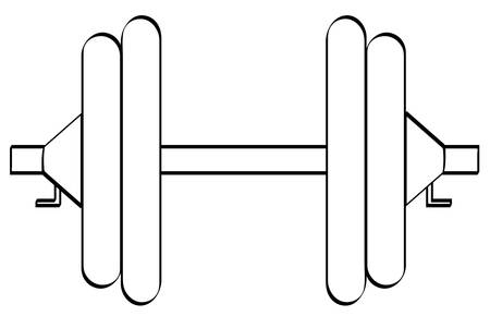 outline of dumbell or weight set with two weights on each side - vector