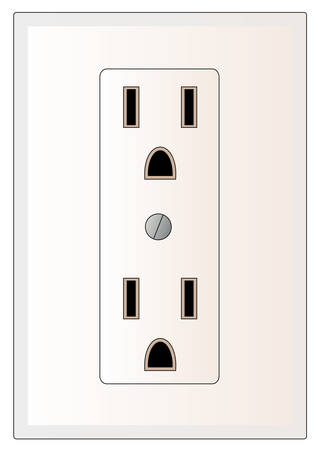 grounded electrical power outlet - vector