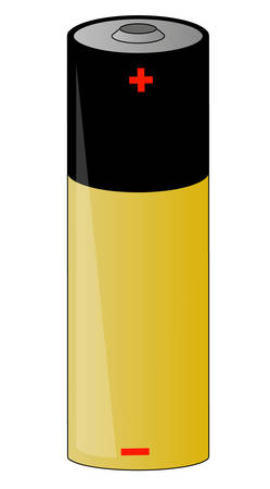 gold and black battery cell  with positive and negative poles - vector Ilustração