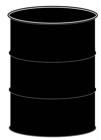 silhouette of black fifty gallon drum or barrel - vector