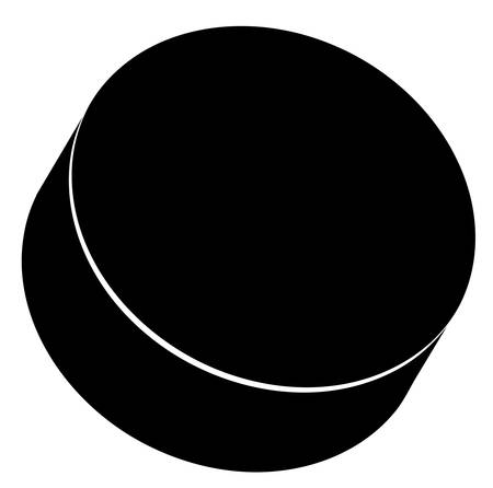outline of a black hockey puck - vector