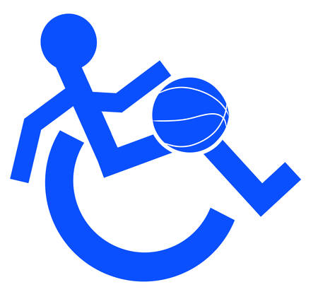 logo or symbol for wheelchair accessible sports or activities - vector Vettoriali