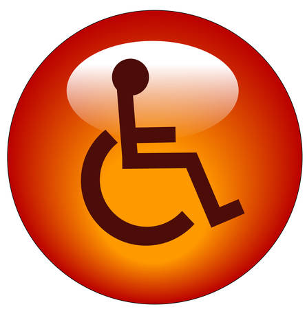 Red Button Or Icon With Handicap Symbol Of Accessibility Vector