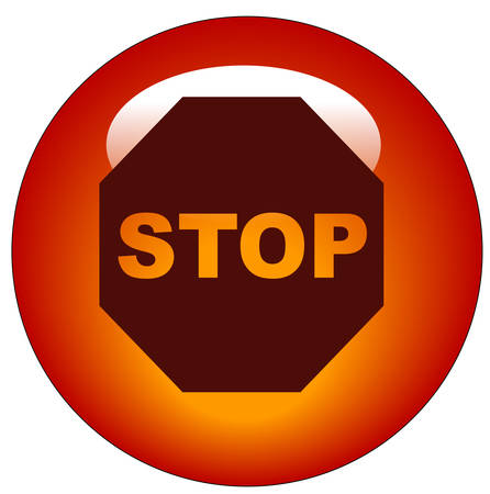 stop sign on red web button or icon - vector
