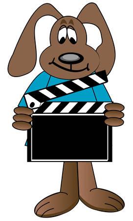 dog cartoon holding up directors clapboard - vector