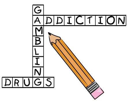 potlood in te vullen kruiswoordraadsel - gokken verslaving en drugs - vector Stock Illustratie