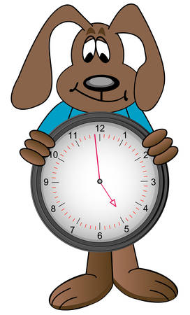cartoon dog holding clock with time showing one minute to five - vector Illusztráció