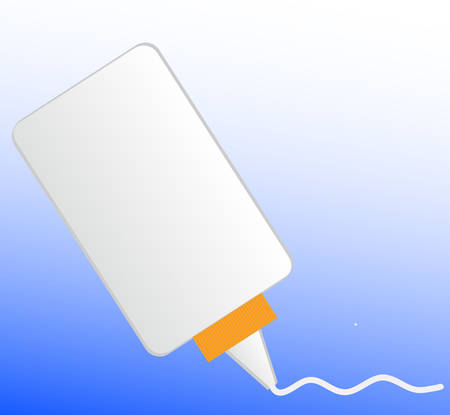squishing out white all purpose glue onto blue background - vector Çizim