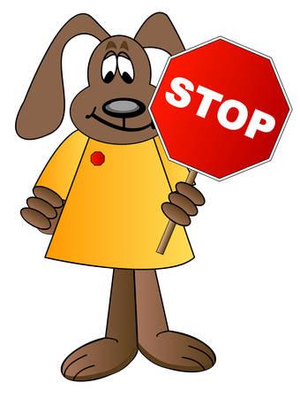 cartoon dog holding stop sign - crossing guard - vector