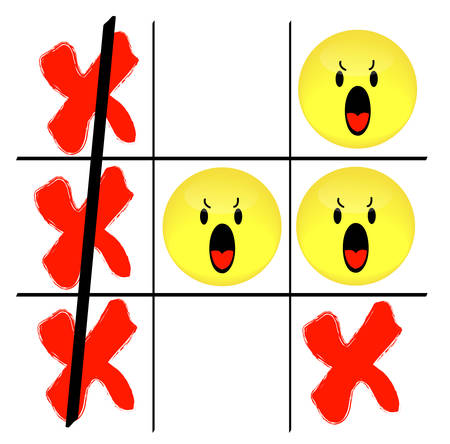 tic tac toe game with angry smiley face losing - vector 向量圖像