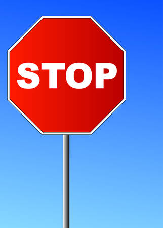 red stop sign against brilliant blue sky - vector
