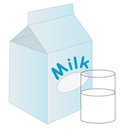 white milk carton with glass of milk sitting beside it - vector