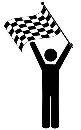 stick man or figure waving checkered flag - winner - vector