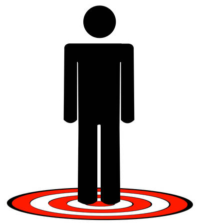 stick man or figure standing on red target - vector Illusztráció