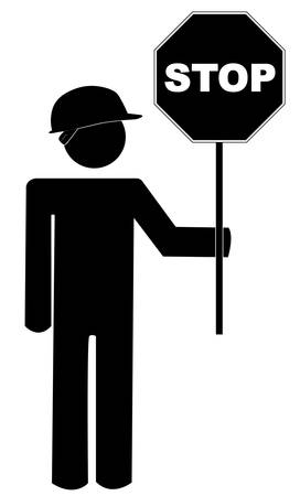 stick figure road worker with stop sign - vector Illustration