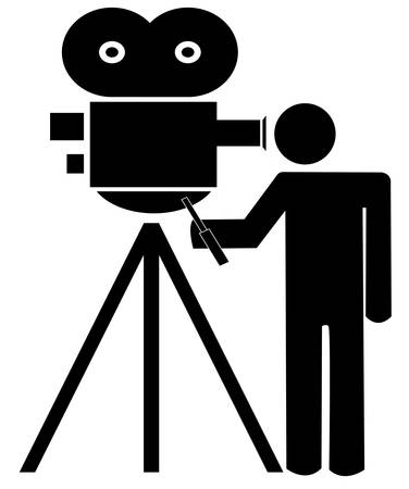 stick man or figure standing behind movie camera - vector Vectores