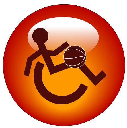 red web button or icon for handicap sports or participation - vector Vettoriali