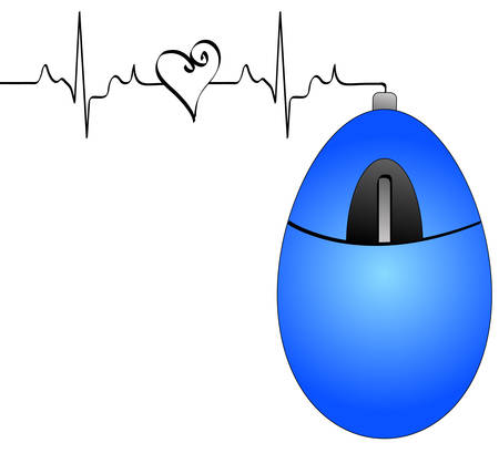 blue computer mouse with connection cord with heart rhythm - internet love connection - vector Ilustração
