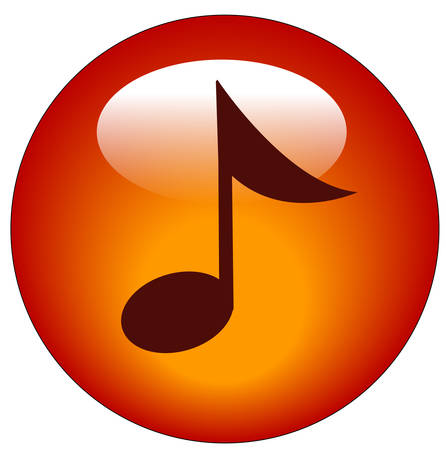 red musical note web button or icon - vector