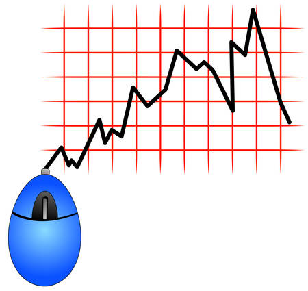blue computer mouse with cord showing fluctuation in bar graph - fluctuation in internet usages or shopping - vector