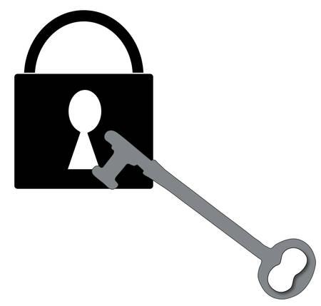 closed padlock with silver antique key - vector Ilustração