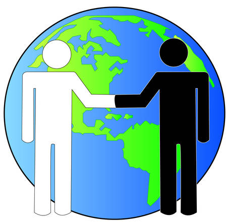 multi-cultural handshake with globe or earth behind - international business deal - vector Vectores