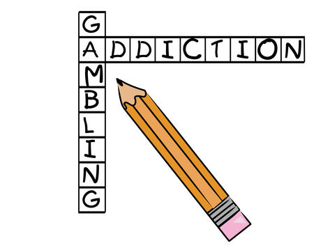 pencil filling in crossword with words gambling and addiction - vector Çizim