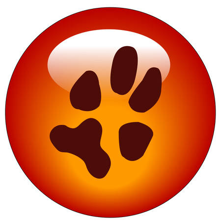 red paw print web button or icon - vector Stock Illustratie