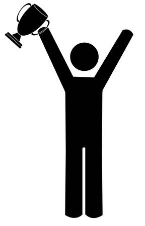 stick figure or man with arms up holding trophy - vector 일러스트