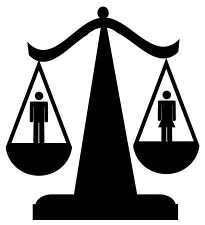 schalen van rechtvaardigheid met man en vrouw - gelijkheid