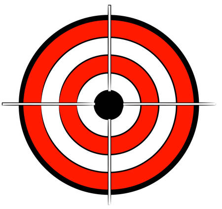 red white and black bullseye target with crosshair - vector