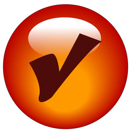 red check mark web icon or button - vector