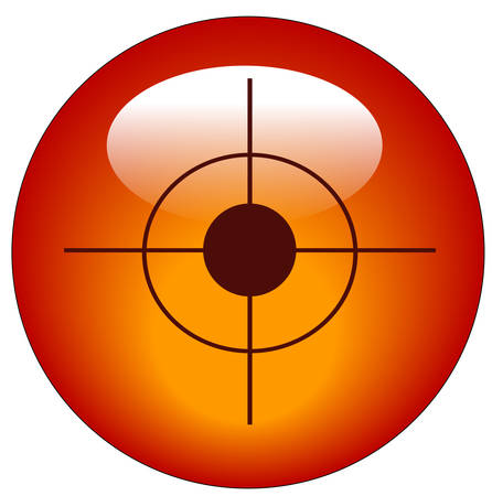 red bullseye or target web button or icon - vector