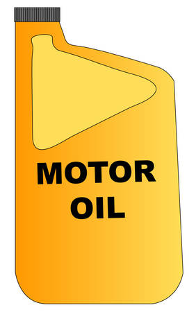 yellow plastic bottle of motor oil with grey lid - vector Illustration
