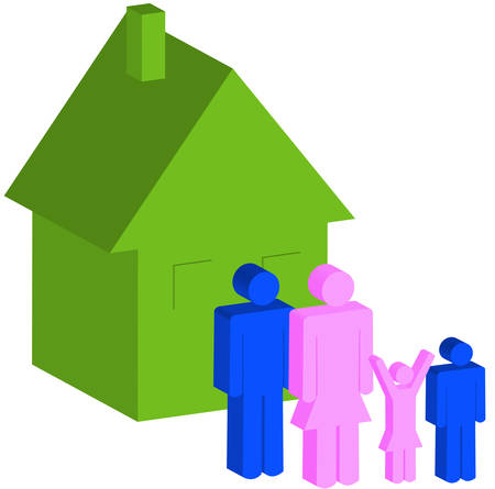 3d - family of four standing outside of their house - vector Illustration