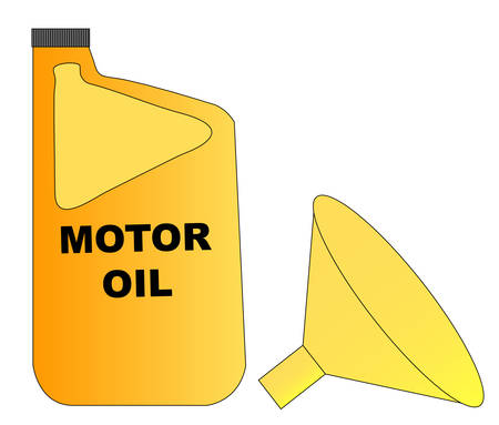 yellow plastic bottle of motor oil with funnel - vector Иллюстрация