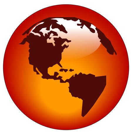red north american continent web button or icon - vector Vetores